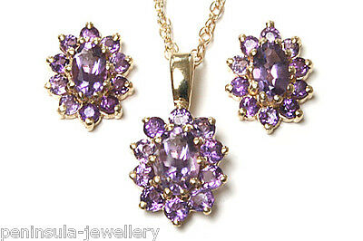 9ct Gold Amethyst Cluster Pendant Necklace and Earring Set Gift Boxed Made in UK