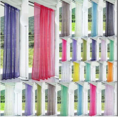 1Pcs Sheer Voile Window Curtains/Drape/Panel/treatment Assorted Solid Color