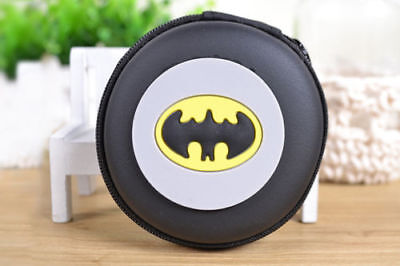 NEW Batman Round Cartoon Kids Boys Girls Rubber Coin Purse Wallet Headset Bag
