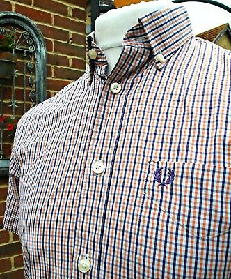Fred Perry 3-Colour Gingham Button-Down Shirt - S/M - Ska Mod Scooter Casuals