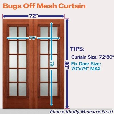 "Magnetic Screen Door for French Doors Mosquito Bug Fly Hands Free Frame 72""x 80"""
