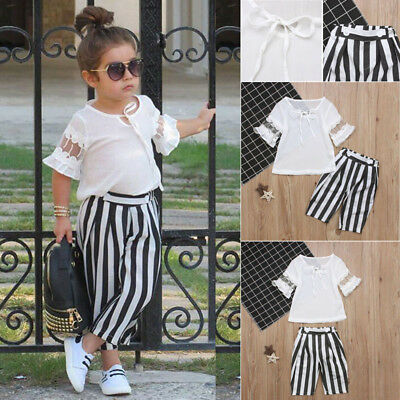 2Pcs Fashion Cute Kids Baby Girl Lace Tops Shirt Striped Pant Outfits Clothes US