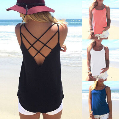Sleeveless Tops Women's Summer Backless T-Shirt Blouse Vest Casual Tank Camisole