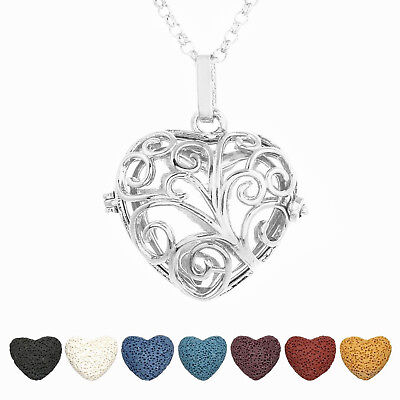 1Pc Hollow Floral Heart Pendant Cage Pendant Silver Plated Necklace For Gift