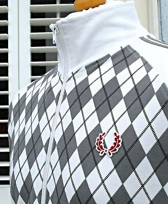 Fred Perry White Harlequin Track Jacket - M/L - Ska Mod Casuals Scooter Skins