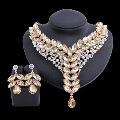 Fashion Gold Plated Champagne Crystal Wedding Party Necklace Earring Jewelry Set