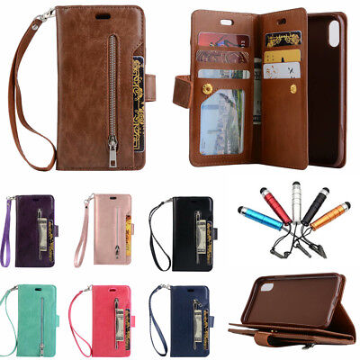 For iPhone 11 Pro XS Max Xr 6 7 8 Leather Wallet Magnetic Flip Case Zipper Cover