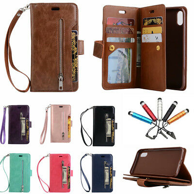 For iPhone 6s XS Max Xr 7 8 Leather Wallet Magnetic Flip Case Card Zipper Cover