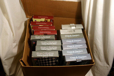 """15 set lot: 2 in 1 Travel Portable Magnetic Chess and Checkers Set - 12.5"""""""