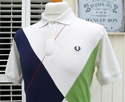 Fred Perry White Colour Block Pique Polo - M/L - Ska Mod Scooter Casuals Skins
