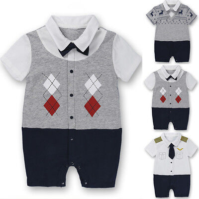Playsuit Summer Infant Baby boys Bodysuit Gentleman Romper 2018 Outfit Clothes
