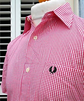 Fred Perry White/Pink Micro-Check Shirt - S/M - Mod Ska Scooter Casuals Vintage