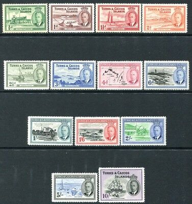 TURKS & CAICOS ISLANDS-1950 Set to 10/- Sg 221-233 MOUNTED MINT V24168