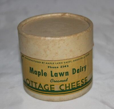 Vintage Maple Lawn Dairy Cottage Cheese Wax Container w/Lid Mansfield Ohio