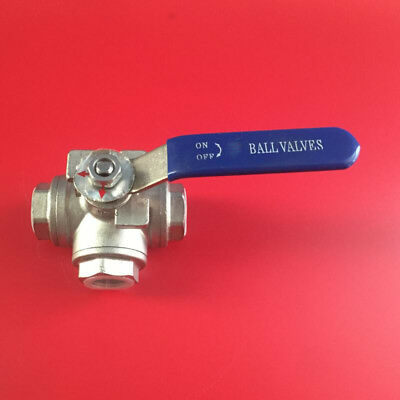 """BSP 1/2""""-1"""" 3-way Ball Valve Stainless Steel Female Port L T Type Lever Handle"""
