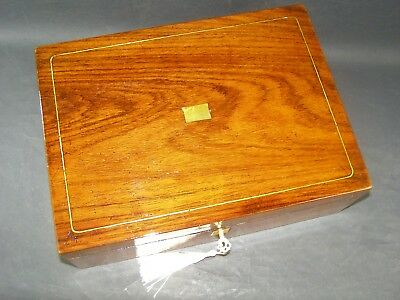 Antique Rosewood Document Box Working Lock & Key 1870 Mother Of Pearl Center