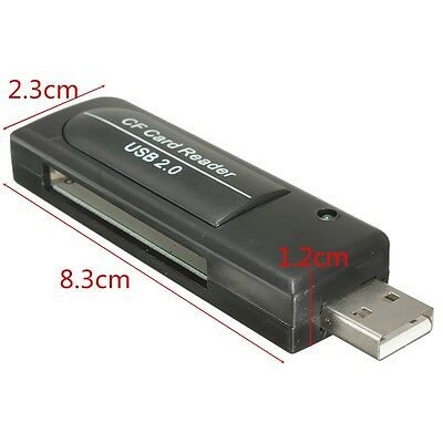 USB 2.0 Compact Flash CF I II MD Speicherkartenleser Adapter Card Reader Schwarz