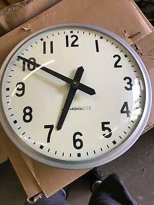 "VINTAGE National Time 10"" Industrial Electric School Clock Metal & Glass"