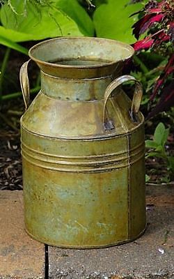 New Primitive Country Farmhouse Small RUSTIC GREEN MILK CAN Metal Vase Bucket