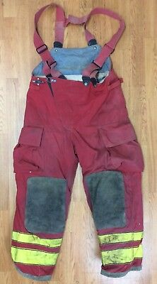 Firefighter Red Bunker Turnout Pants w/ Suspenders 38 x 30 Globe