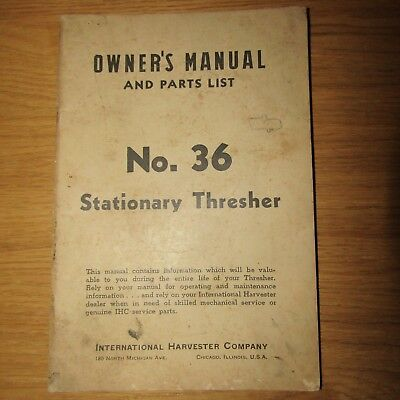No.36 Stationary Thresher Owners Manual Parts List (International Harvester Co)