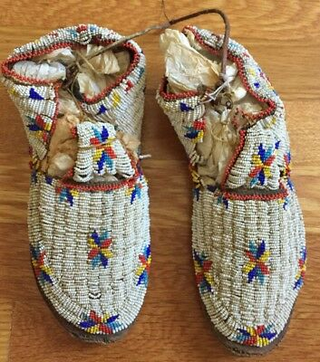 Antique Native American Plains Fully Beaded Moccasins Rawhide Sole Star Design