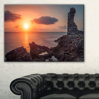 African Ancient Ruins at Seashore - Oversized Beach Canvas Multi