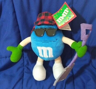 """Nwt 2002 Collectible Blue M&m With Snow Shovel Stuffed Toy Character 9"""" H"""
