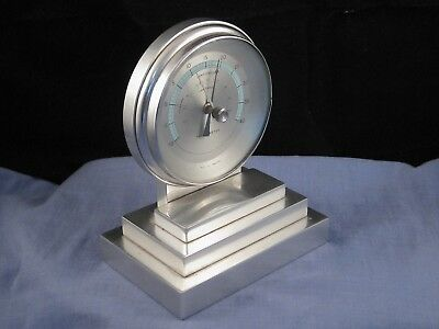 Original Art Deco Antique Vintage Chrome Aluminium Desktop Thermometer Barometer