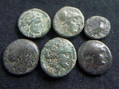 Assorted Lot of 6 Authentic uncleaned Ancient Greek coins CC9917