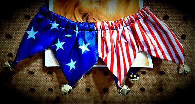 """4th of July Stars & Stripes Sateen Bells Jester Dog Collar 10"""" Neck Size S"""