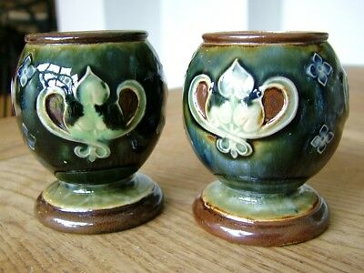 2X Royal Doulton Stoneware Antique Art Nouveau Jugendstil Match Striker Pick Nr