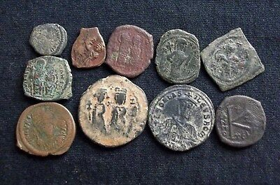 Assorted Lot of 10 Authentic uncleaned Ancient Byzantine coins CC9921