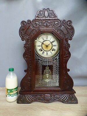 A NICE WORKING ANSONIA GONG STRIKE GINGER BREAD MANTLE CLOCK c1890 * RE OILED *