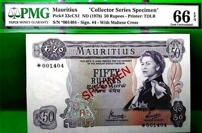 MONEY MAURITIUS 50 RUPEES ND 1978 SPECIMEN PMG GEM UNC PICK #33cCS1 VALUE $640