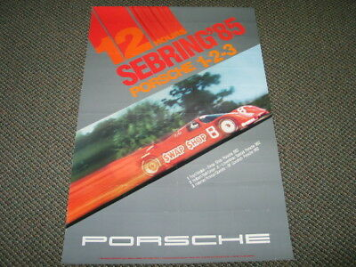 Vintage Orig. Porsche 12 Hours SEBRING '85 Dealer Showroom Racing Poster 26x38""