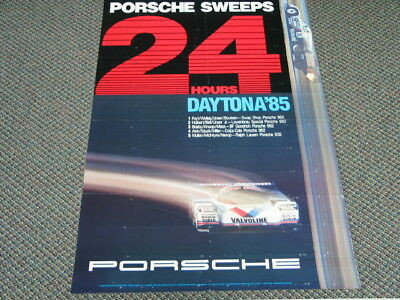 Vintage Orig. Porsche SWEEPS 24hr DAYTONA '85 Dlr Showroom Racing Poster 26x38""