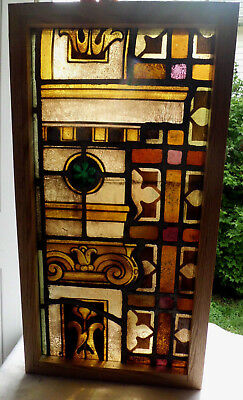 Antique Vtg Church Stained Glass Window Architectural Salvage Mayer German W91