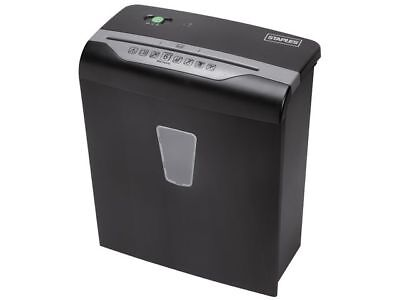 Staples Cross Cut Shredder, 6 Sheets, 10L Bin, Shreds: Credit Cards, Staples etc