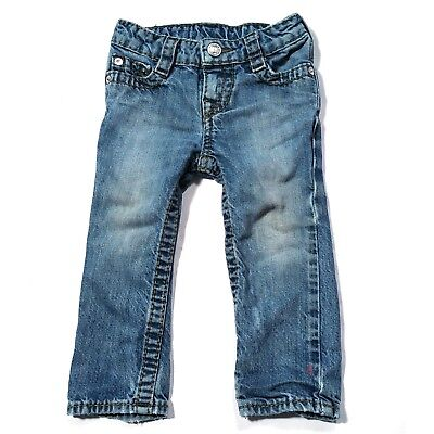 True Religion JOEY Toddler Baby Blue Jeans 24 Months Button Pockets Stitching