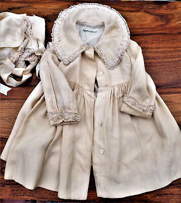 Vintage Silk Baby Christening Coat Plus 3 Bonnets