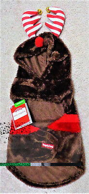 CHRISTMAS SIMPLY DOG Dog Puppy Brown Faux Fur Reindeer Hoodie Costume Size M