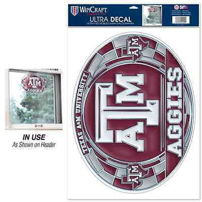 "Texas A&m Aggies Ultra Decal Stained Glass 11""x17"" Brand New Free Shipping"