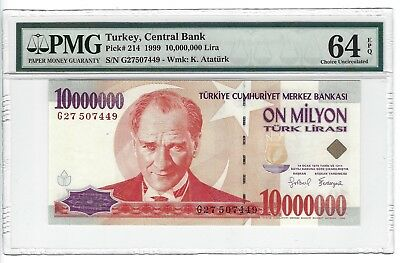 P-214 1999 10,000,000 Lira, Turkey Central Bank, PMG 64EPQ