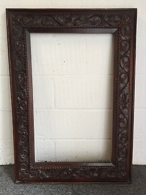 Beautiful antique hand carved oak wood picture frame