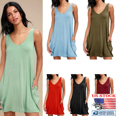 Womens Sleeveless Backless Mini Pocket Casual Sundress Beach Summer V-Neck Dress