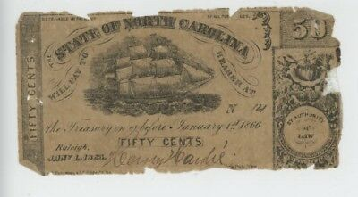 Mr Fancy Cancel CSA State of North Carolina 50c Currency Note #1634