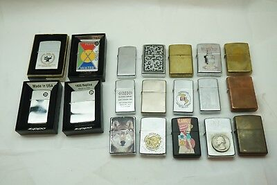 Zippo Lighter Lot Of 19 Pc Advertising New Unfired Vintage Used Etc Cigarette