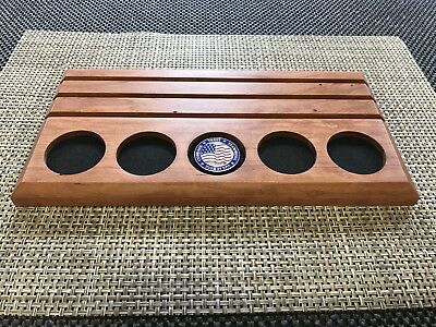 Challenge Coin Display Solid Cherry Wood Military Coin Holder Desk Top Size