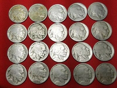 VINTAGE United States Coin Lot Of 20 Buffalo Nickels (dates worn)